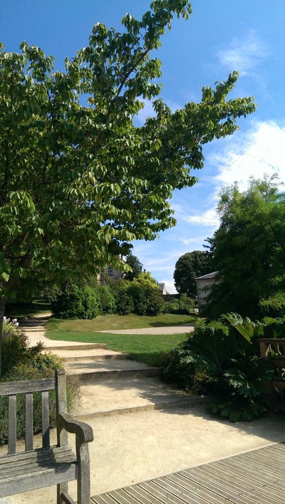 A garden bench in Sherborne Castle Gardens, England